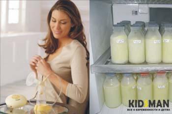 женщина сцеживает грудное молоко